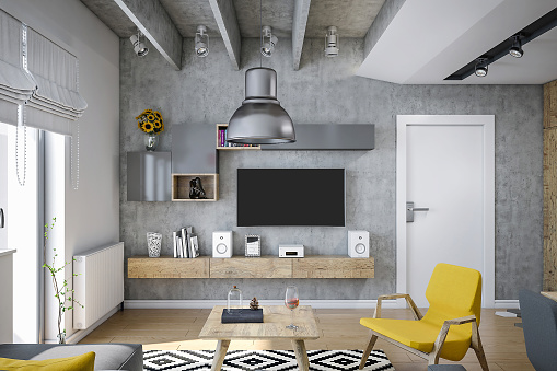 Hostel「Industrial design living room render , with modern furniture and yellow details」:スマホ壁紙(11)