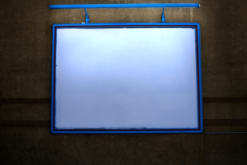 Projection Screen「lighted outdoor billboard with copyspace on a wall at night」:スマホ壁紙(11)