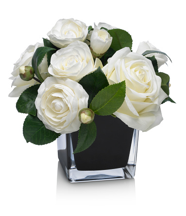 Floral Pattern「Dramatic Rose and Camellia bouquet on white background」:スマホ壁紙(2)