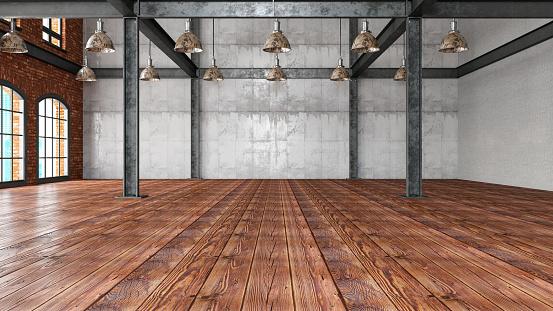 Parquet Floor「Empty Large Warehouse」:スマホ壁紙(7)