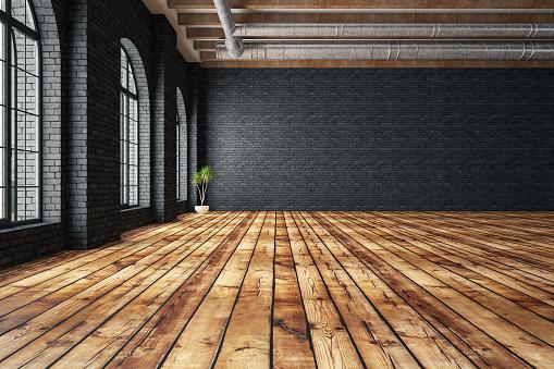 Parquet Floor「Empty Large Warehouse」:スマホ壁紙(1)