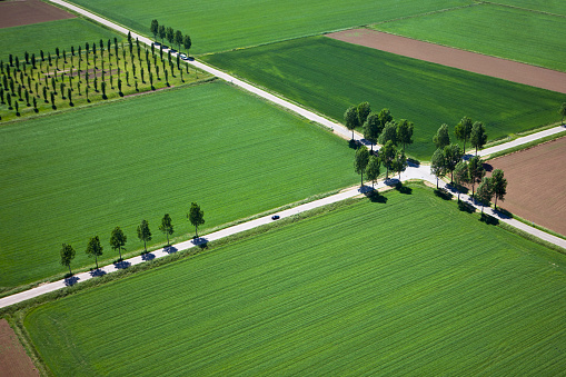 North Brabant「The Netherlands, near Den Bosch, road crossing in farmland. Aerial.」:スマホ壁紙(16)