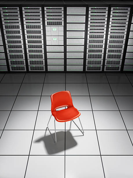 A red chair in a network server room:スマホ壁紙(壁紙.com)