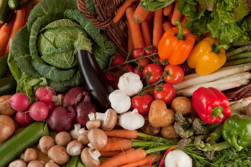 Vegetarian Food「fresh vegetables top view close」:スマホ壁紙(6)