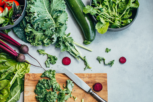 Raw Food「Fresh vegetable on concrete table」:スマホ壁紙(11)
