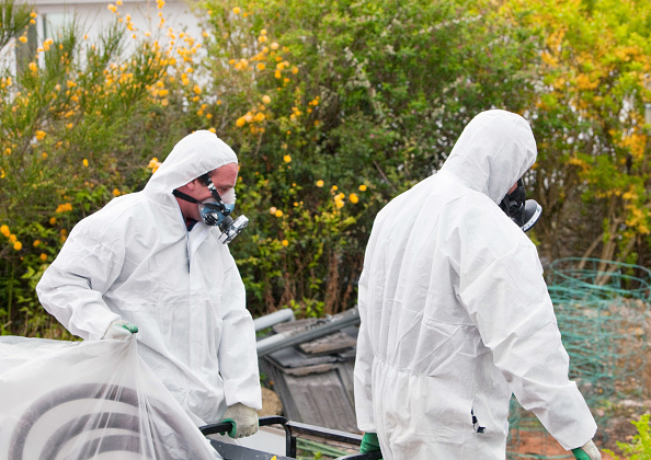 Absence「A specialist asbestos removal company removing asbestos from a shed roof of a house in Ambleside, Cumbria, UK.」:写真・画像(11)[壁紙.com]