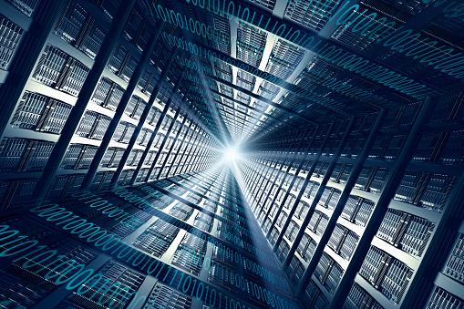 デジタル合成「Light shining from binary code and computer servers」:スマホ壁紙(15)