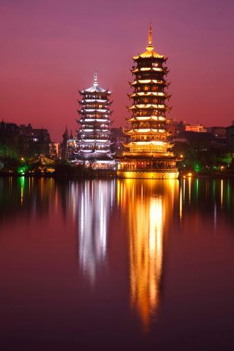 Guilin Hills「Twin Tower in Night」:スマホ壁紙(11)