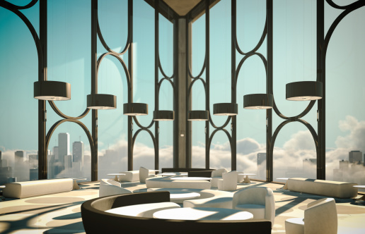 Luxury Hotel「Skyscapers Modern Lobby Above Clouds And City」:スマホ壁紙(8)