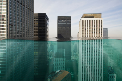 Digital Composite「Skyscapers submerged in water」:スマホ壁紙(1)