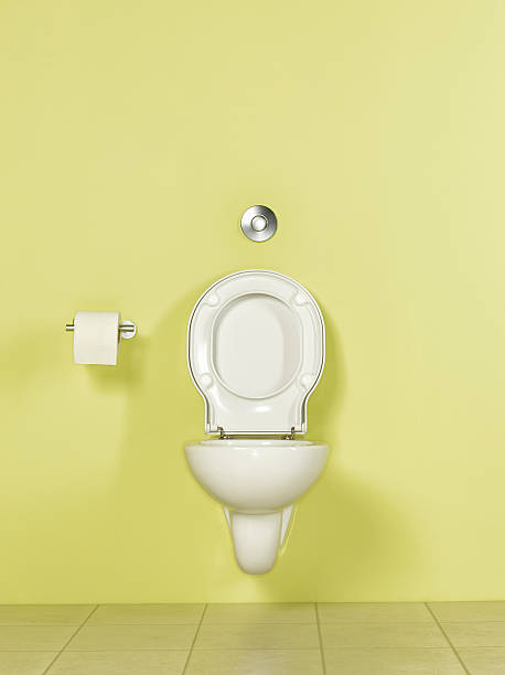 Toilet in yellow room, front view:スマホ壁紙(壁紙.com)