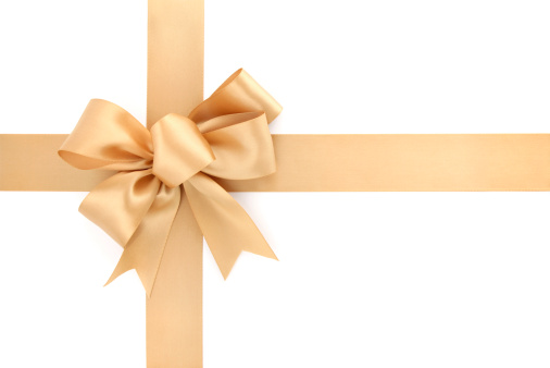 Gold Colored「Gold Bow & Ribbon on White Background」:スマホ壁紙(3)
