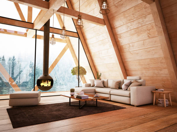 Wooden Interior with Funiture and Fireplace:スマホ壁紙(壁紙.com)