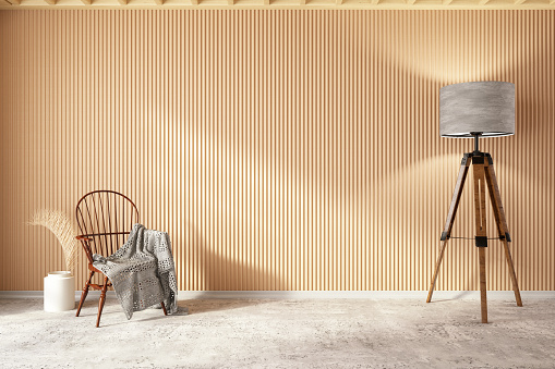 Wood Paneling「Wooden Interior with Chair Blanket and Floor Lamp」:スマホ壁紙(5)