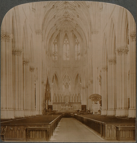 Cathedral「Interior finest Gothic structure in U.S. - St. Patricks Cathedral, New York, c1900」:写真・画像(15)[壁紙.com]