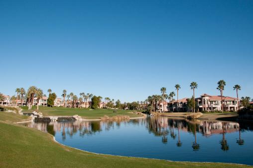Water Hazard「Lush green golf course in the Palm Springs desert」:スマホ壁紙(13)