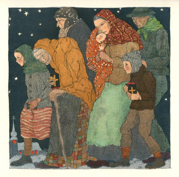 The Way To The Christmas Mass [By Herta Zuckermann]. Color Lithograph From: Franz Cizek. Weihnacht. Vierzehn Farbige Original Steinzeichnungen. Vienna. Burgverlag Richter & Zoellner. 1922.:ニュース(壁紙.com)