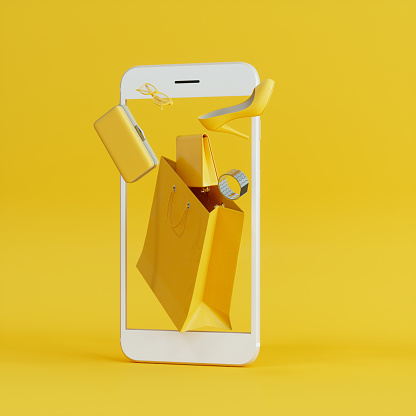 Color Image「Online Shopping At Smartphone With Flying Yellow Wallet, Clutch Bag And Shoe Background」:スマホ壁紙(14)