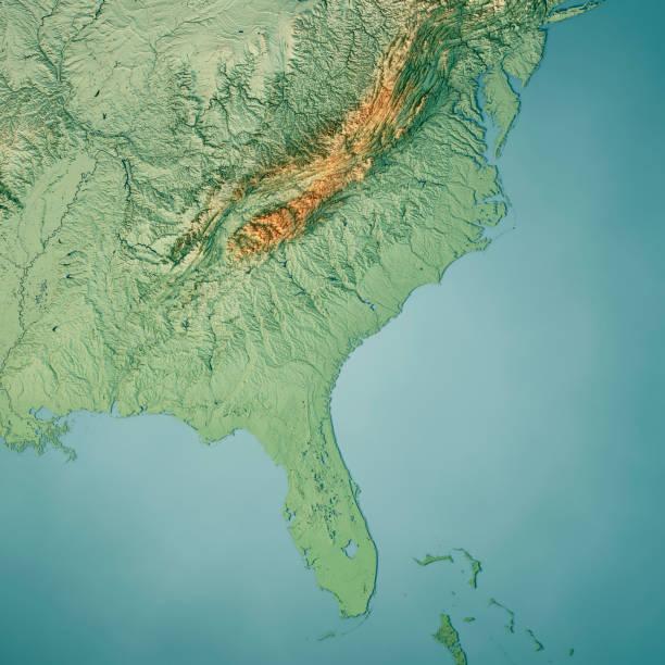 South Atlantic US States 3D Render Topographic Map Color:スマホ壁紙(壁紙.com)