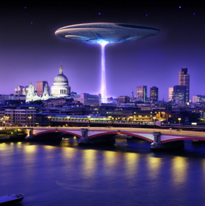 Digital Composite「UFO hovering above London skyline, dusk (Digital Composite)」:スマホ壁紙(15)