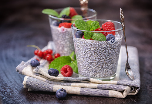 Napkin「Chia seed pudding with fresh berries for the breakfast」:スマホ壁紙(19)