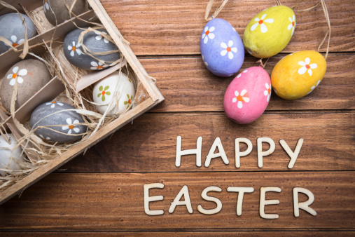 Easter Basket「basket of easter eggs with text」:スマホ壁紙(9)