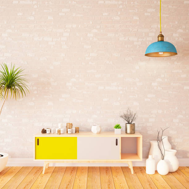 Birck Wall with Table and Decors:スマホ壁紙(壁紙.com)