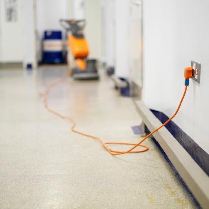 Floor Polisher「Plug of a floor polisher plugged into the wall」:スマホ壁紙(1)