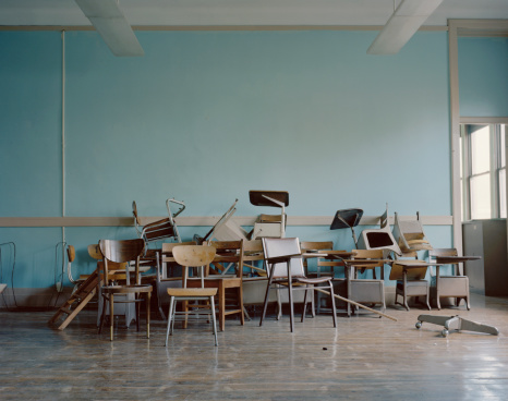 School Building「Old, broken chairs in an abandoned school」:スマホ壁紙(12)