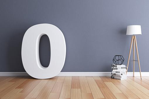 Number「Mock up interior font 3d rendering number 0」:スマホ壁紙(2)