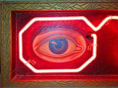 Iris - Eye「Old vintage neon optometrist glowing eyeglass sign with stylized decal eye in a frame.」:スマホ壁紙(17)