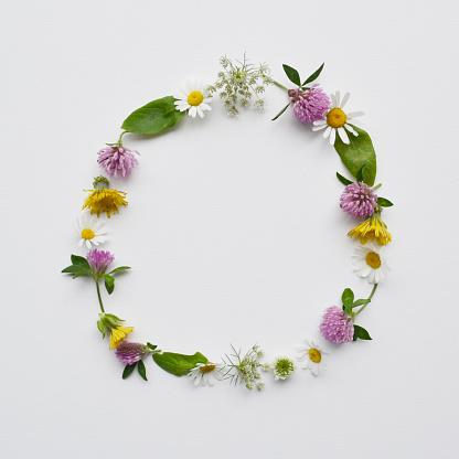 たんぽぽ「Floral wreath made from wildflowers and leaves」:スマホ壁紙(11)