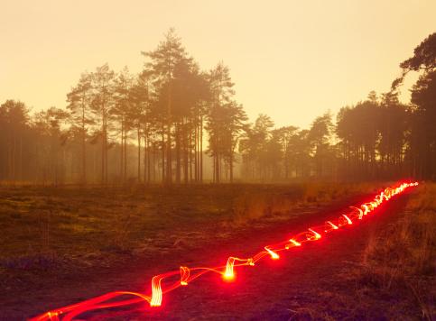 Threats「Red light trail in misty heathland.」:スマホ壁紙(14)