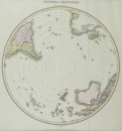 Latitude「Vintage map of South Pole and southern hemisphere」:スマホ壁紙(8)