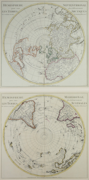 Latitude「Vintage map of northern and southern hemispheres」:スマホ壁紙(10)