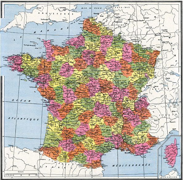 Physical Geography「Map Of Departments Of France」:写真・画像(2)[壁紙.com]