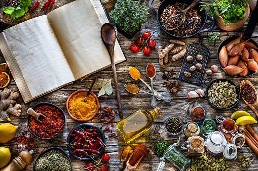Recipe「Cooking concepts: Cookbook with spices and herbs shot from above on rustic wooden table」:スマホ壁紙(14)