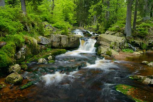 Harz National Park「Germany, Lower Saxony, Harz, Waterfall of the mountain stream Warme Bode, Lower Bodefall」:スマホ壁紙(12)