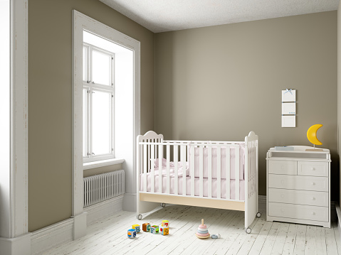 Happiness「Modern nursery room with blank frame」:スマホ壁紙(15)