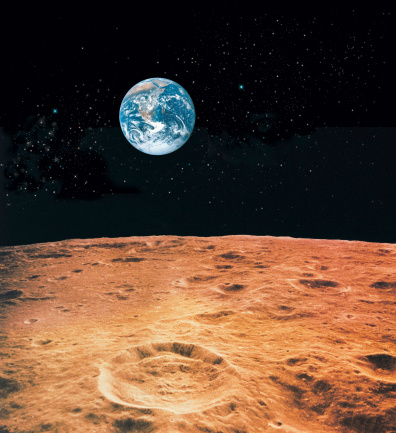 月「Earth and lunar surface with star background」:スマホ壁紙(3)