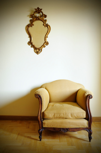 Floral Pattern「Retro Armchair with Gold Mirror」:スマホ壁紙(12)