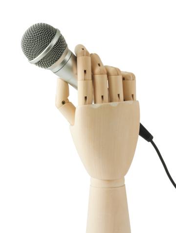 Singer「wooden hand holding a microphone」:スマホ壁紙(15)