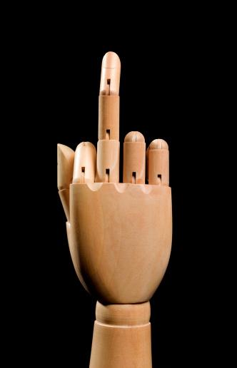 Furious「Wooden hand showing rude finger」:スマホ壁紙(18)
