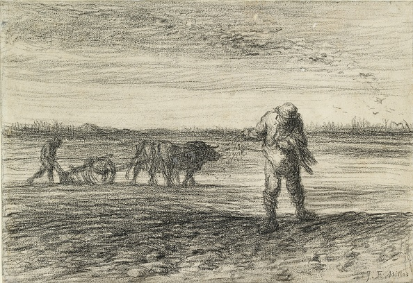 Millet「Man Ploughing And Another Sowing」:写真・画像(18)[壁紙.com]