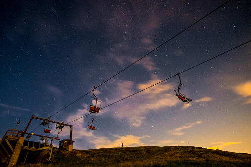 Piedmont - Italy「Italy, Bielmonte, starry sky and chair lift」:スマホ壁紙(17)