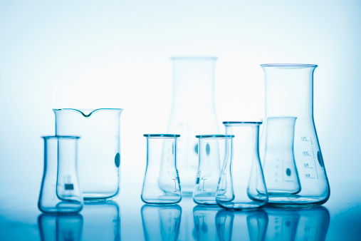 Chemical「Volumetric flasks against white background, close up」:スマホ壁紙(16)