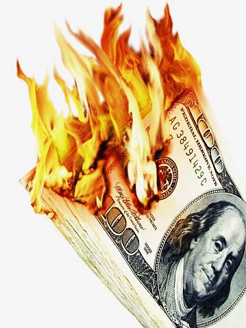 American One Hundred Dollar Bill「100 Dollar Notes in Flames」:スマホ壁紙(1)