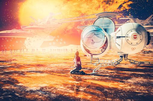 Spacecraft「エイリアン 惑星 、ロボット、drones と背景街の蜂の巣」:スマホ壁紙(13)
