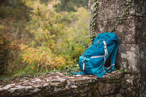 Backpack「Blue backpack on a stone wall in nature」:スマホ壁紙(13)