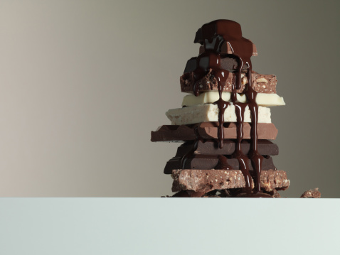 Milk Chocolate「Chocolate syrup dripping over stack of chocolate bars」:スマホ壁紙(10)